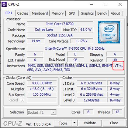 CPU Z VT-x Support
