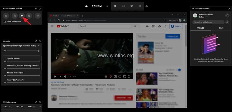 Screen recording Windows 10