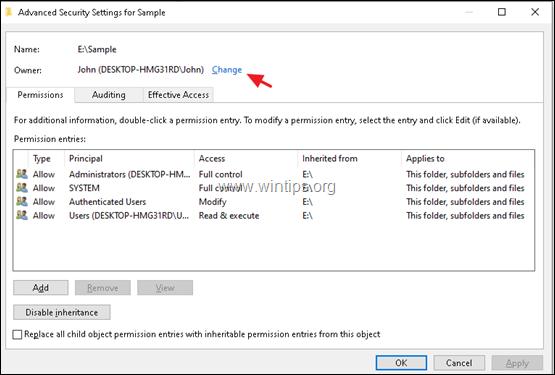 modify security permissions