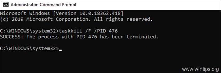 taskkill /F /PID ServicePID