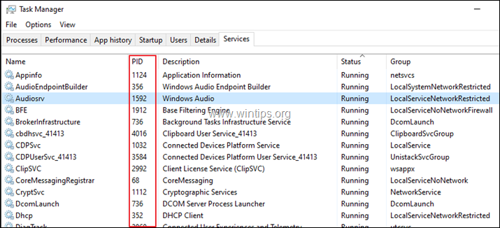 Find PID from Task Manager