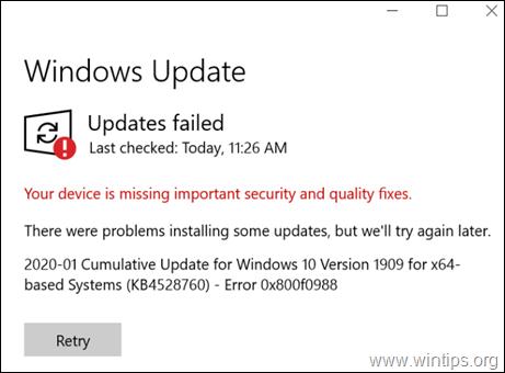 FIX: Cumulative Update KB4528760 failed with Error 0x800f0988.