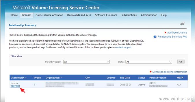 Microsoft Volume Licensing Service Center Licenses