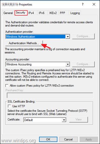 Configure PPTP VPN Server Authentication Methods
