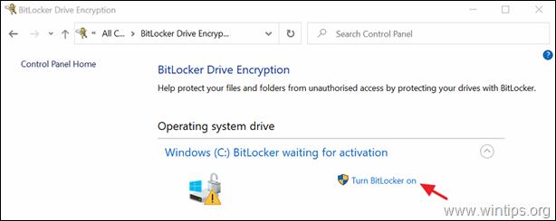 fix BitLocker waiting for activation on Windows 10