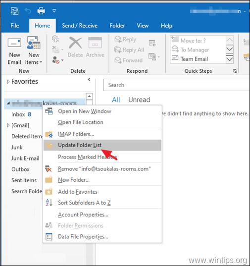 FIX: IMAP folders not appearing in outlook
