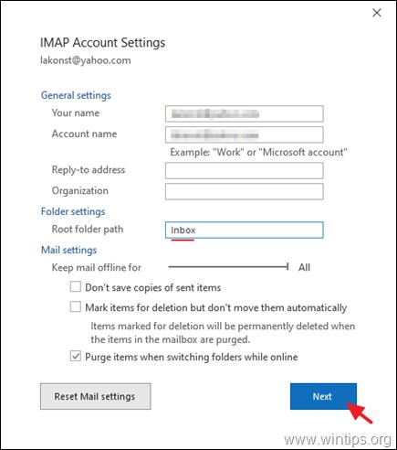 Specify the IMAP root folder path