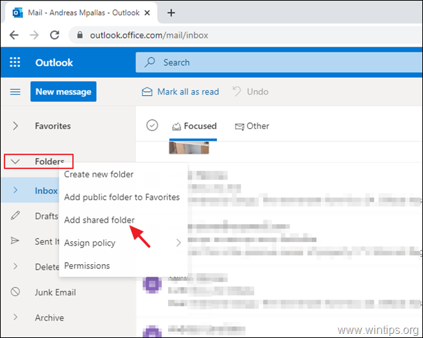 Add Shared Mailbox - Outlook WEB
