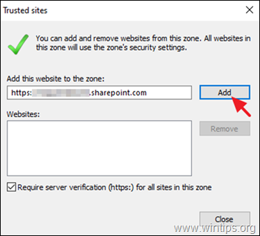 Add SharePoint to Trusted Sites