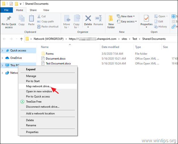 Map SharePoint documents as a Network drive in Windows explorer