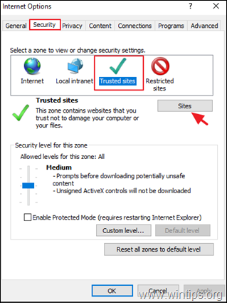 Internet Explorer - Trusted Sites