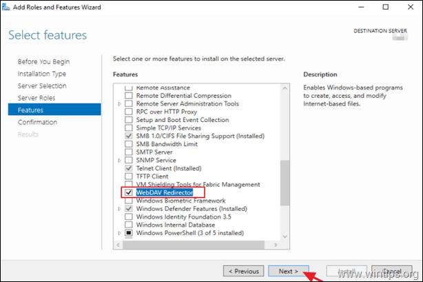 Install WebDav Redirector Server 2016