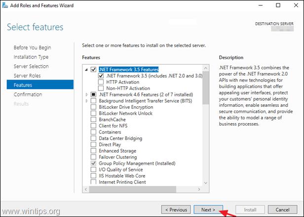 Install NET Framework 3.5, 3.0, 2.0 Server 2016