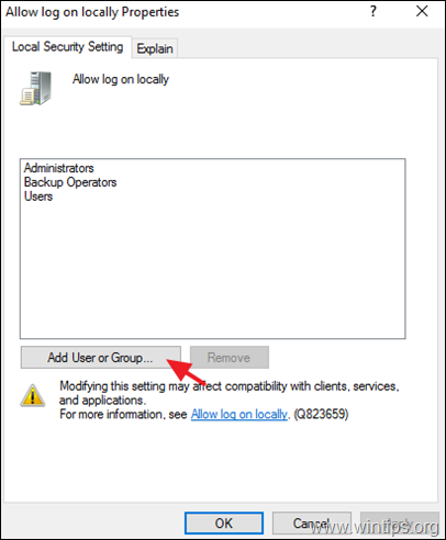 Allow log on locally Server