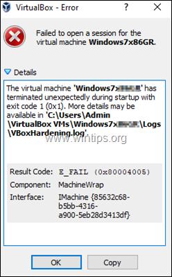 Virtual Machine has terminated unexpectedly - VBoxHardening.log'