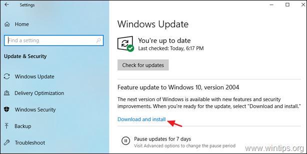 FIX: Windows 10 Update 2004 failed to install