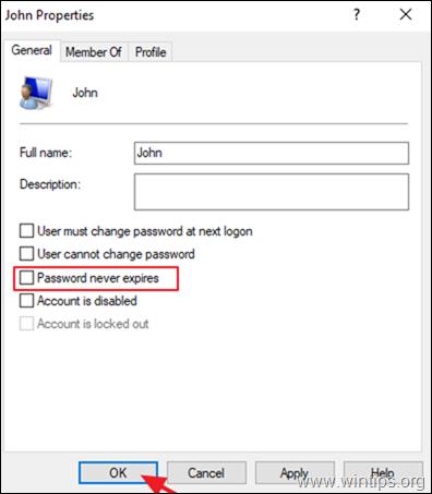 Set Password to Never Expires
