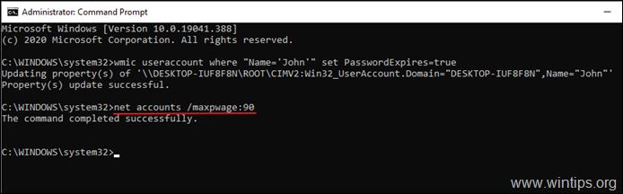 set maximum password age - command