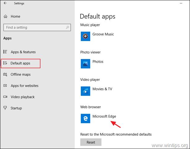 Set Microsoft Edge as Default Web browser.