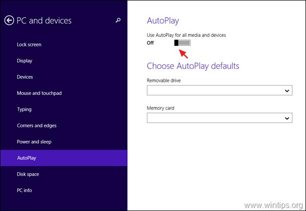 Turn Off AutoPlay Windows 8