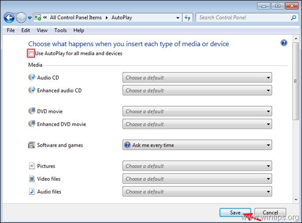 Turn Off AutoPlay Windows 7