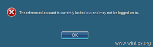 FIX: The referenced account is currently locked out and may not be logged on to