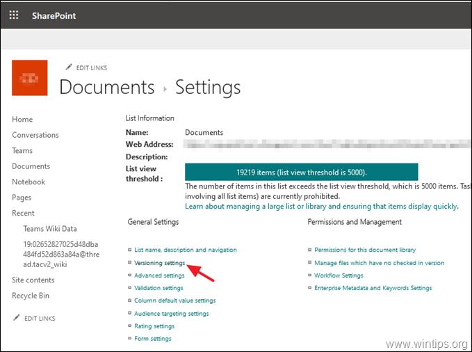 Versioning Settings SharePoint