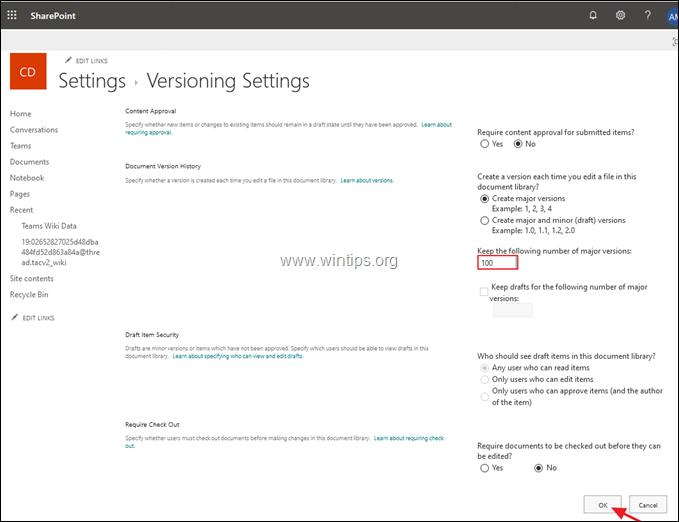 Modify File Versioning Settings SharePoint