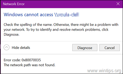 FIX Error 0x80070035: The Network path was not found