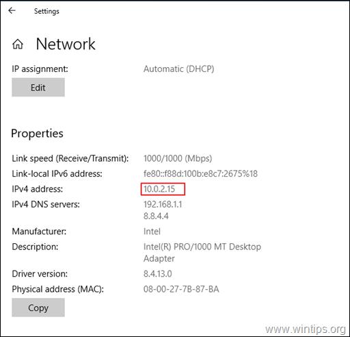 View IP Address Windows 10