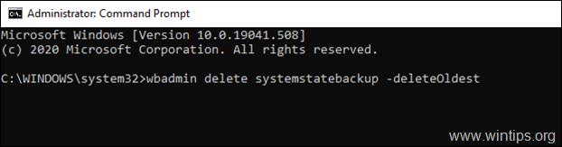delete oldest system state backup