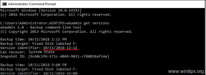 delete specific system state backup
