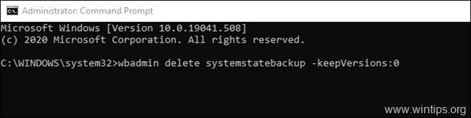 delete all system state backups