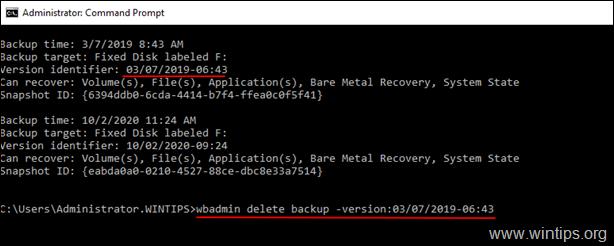 wbadmin delete backup -version:Version-Identifier