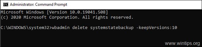 wbadmin delete systemstatebackup -keepversions