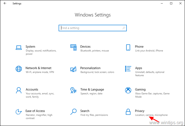 Windows 10 Privacy options