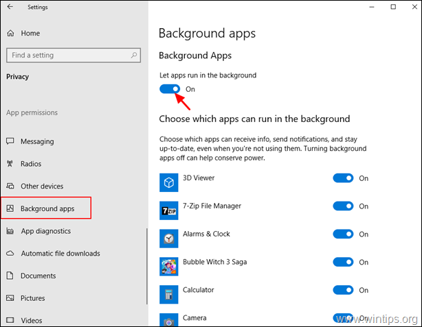 Allow Apps to Run in Background