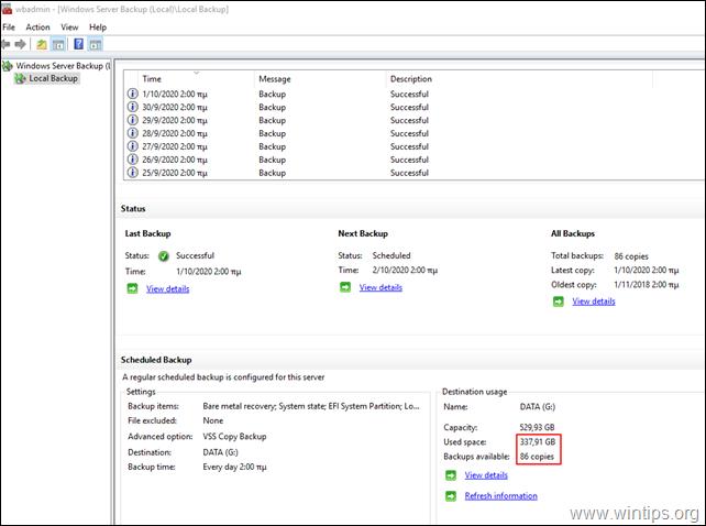 How to Delete Windows Server Backup(s) on Server 2016/2012