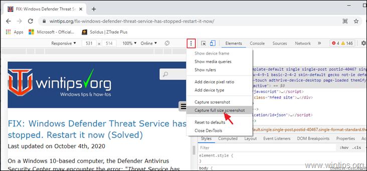 Capture full size screenshot in Chrome
