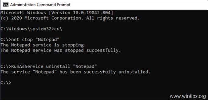 RunAsService Uninstall Service