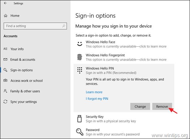 Remove PIN Windows 10