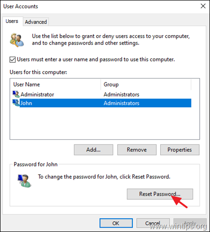 Reset User Password Windws