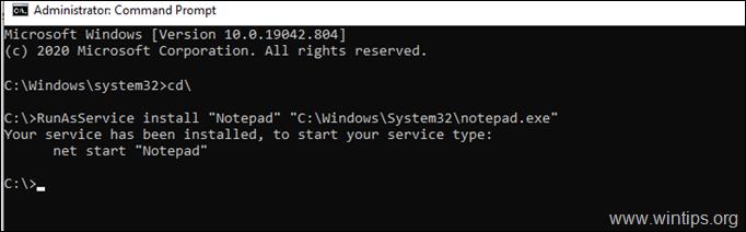 RunAsService install service