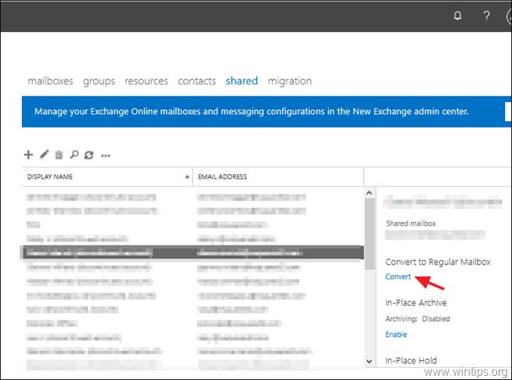 Convert to Regular Mailbox - Office 365