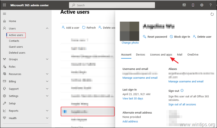 Remove Licence Office 365
