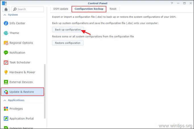 Backup Synology NAS Configuration