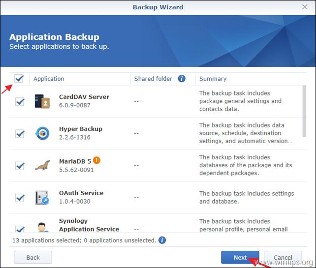 Backup Applications Synology