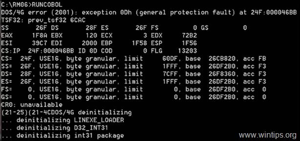 FIX: DOS/4G error (2001) exception 0Dh