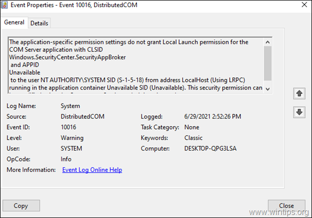 Application Specific Permission Settings do not grant Local Launch permission for Windows.SecurityCenter