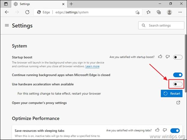 Edge disable hardware acceleration
